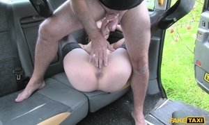 Stockings clad hottie from Holland suck off huge cock in taxi