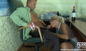 blonde, blowjob, couple, handjob, heels, masturbation