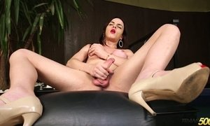 Hot blooded tranny Leticia Alves is jerking off hard and meaty cock