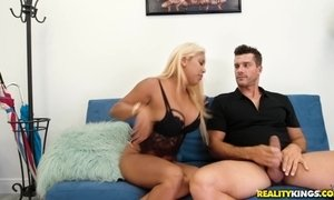 Chubby blonde Latina Desiree Lopez gets paid to ride big white cock