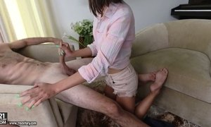 Slim Asian chick Aria Skye is riding heavy hose after a great blowjob