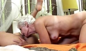 Senior furry grandmother tongues and romps youthful doll free sex