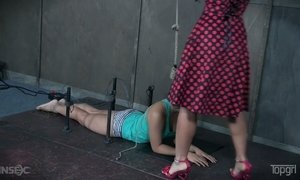 Mistress wearing strapon London River punishes husband's paramour