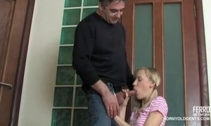 Petite Teen Jerks Off A Whopping Penis Of Mature Daddy