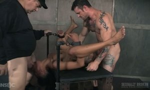 Sassy black bitch Nikki Darling is fucked hard by a duo of hot blooded dudes