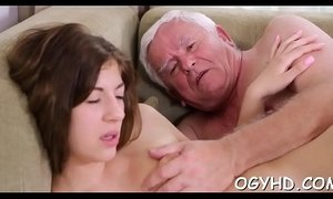Brave young girl drilled by old rod
