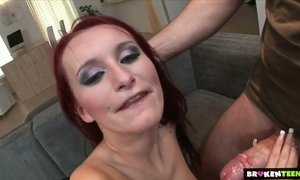 Slutty red head Claudia Adams gets double penetrated