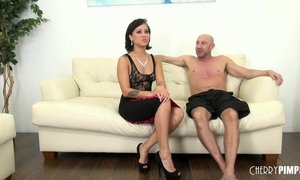 Hot brunette Mia cums on big cock after masturbating her cunt