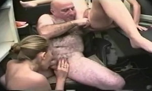 OLD AND HAIRY GUY HAS GROUP SEX WITH 2 YOUNG SEXY GIRLS
