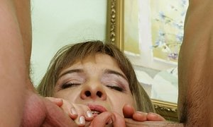 Horny MILF taking a DP, two cocks in her mouth and eating cum from four heavy boners     Pics