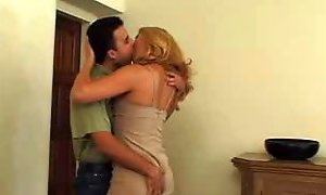 Sexy blonde mature in pantyhose loves man's milk