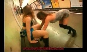 Girl flashes in a public subway