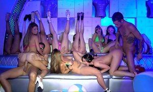 Teen models in bikini on a club party