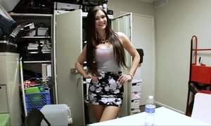 Backroom brunette blowjob