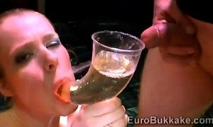 Filthy blondie swallow the urine of filthy mens gang