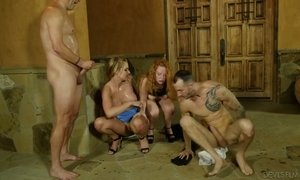 Spoiled busty chick Lucy Foxx takes part in crazy foursome