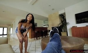 Tight stepsister sucks off and pounded by hard man meat