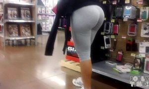 Latina Big Butt Gray Wedgie Check-Out!
